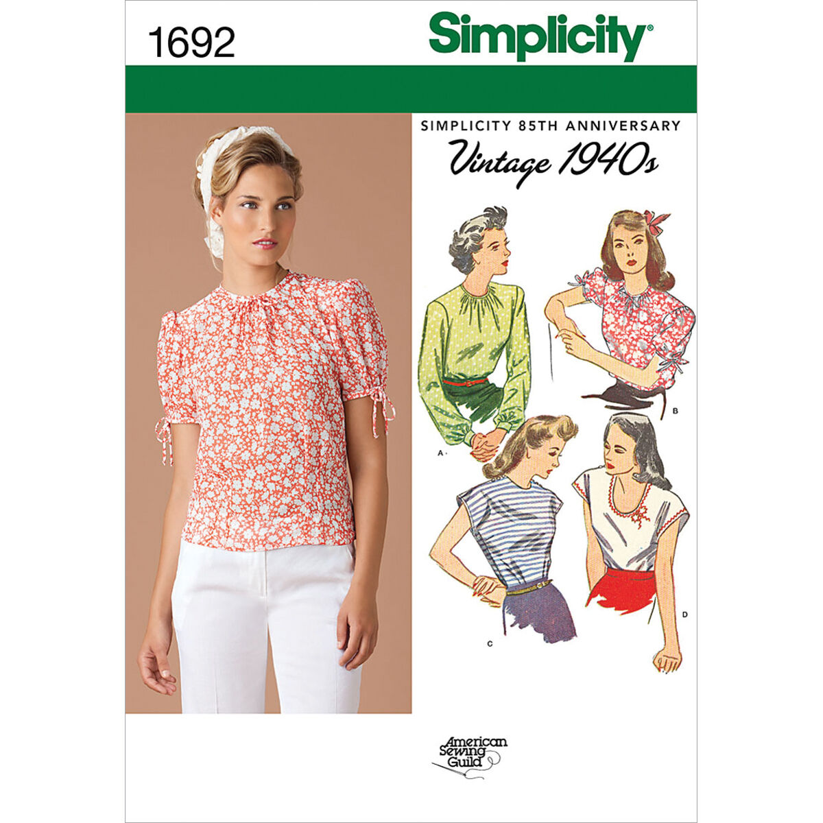 1940s Fabrics and Colors in Fashion Simplicity Pattern 1692R5 14 - 16 - 18 - 2 - Misses Tops Vests $17.95 AT vintagedancer.com