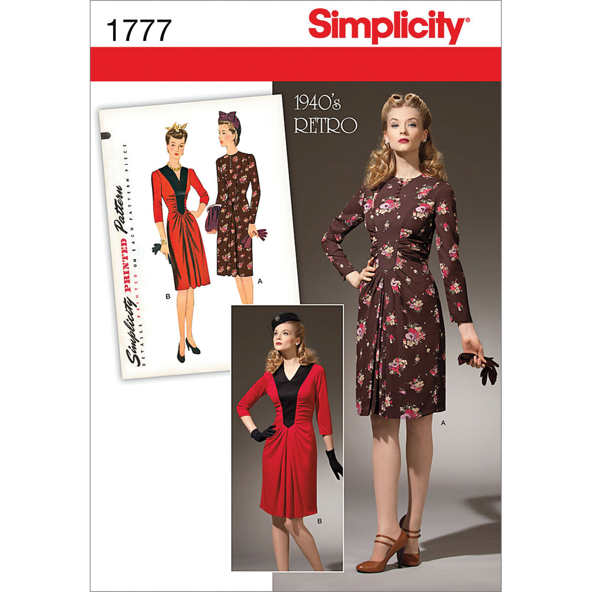 1940s Fabrics and Colors in Fashion Simplicity Pattern 1777H5 6 - 8 - 10 - 12 - - Simplicity Pattern $16.95 AT vintagedancer.com