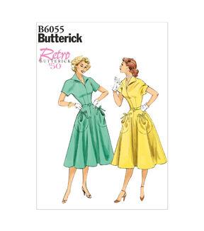 1950s Sewing Patterns | Swing and Wiggle Dresses, Skirts Butterick Misses Dress - B6055 $19.95 AT vintagedancer.com