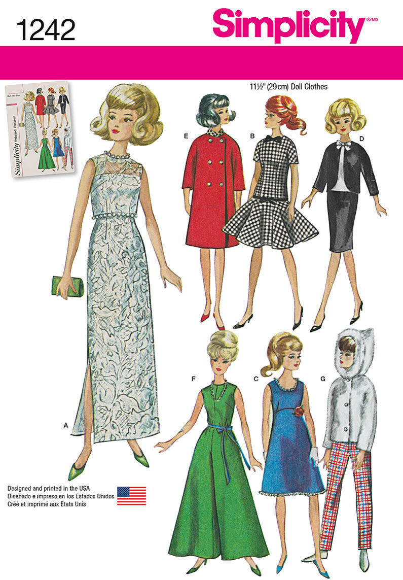 1960s – 70s Sewing Patterns- Dresses, Tops, Pants Simplicity Pattern 1242OS One Size - Doll Clothes $18.95 AT vintagedancer.com