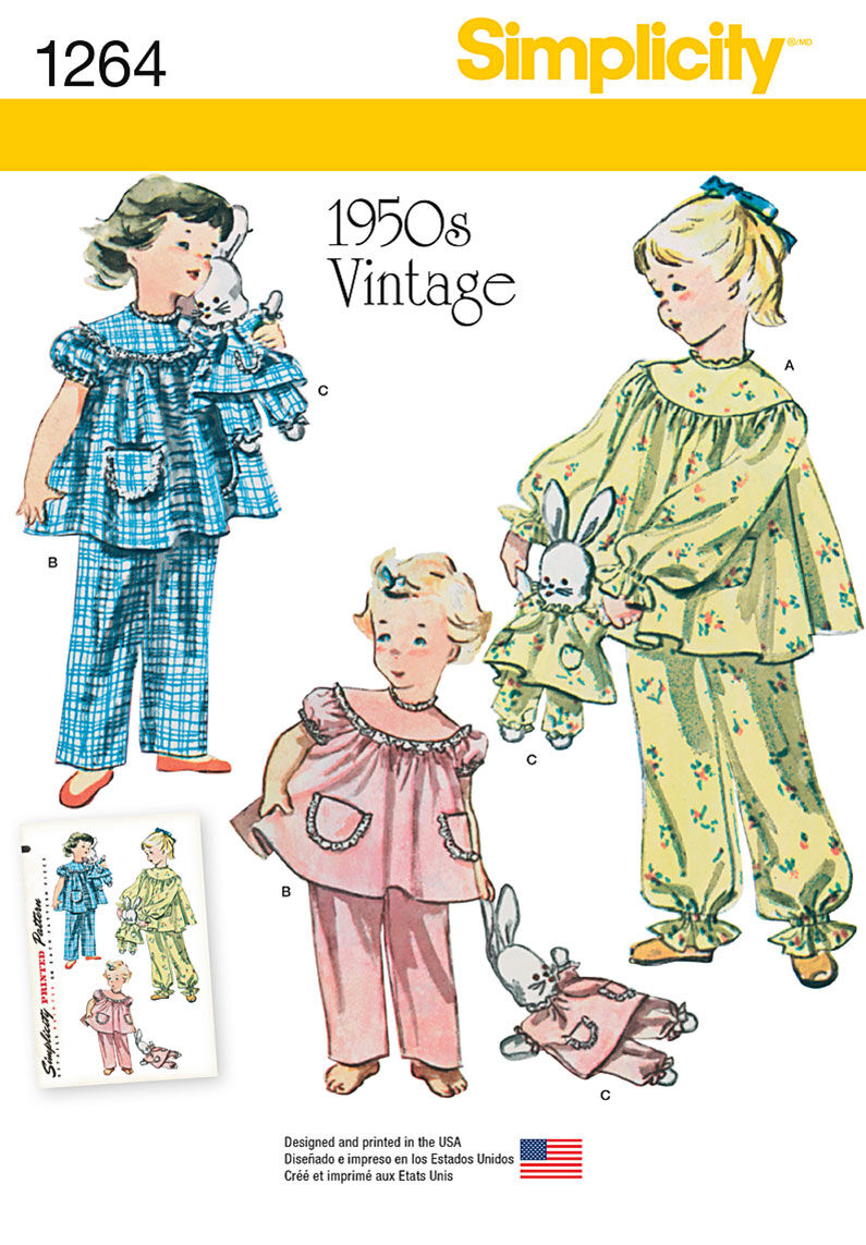 Kids 1950s Clothing & Costumes: Girls, Boys, Toddlers Simplicity Pattern 1264A 3 - 4 - 5 - 6 - 7 - - Sleepwear $15.95 AT vintagedancer.com
