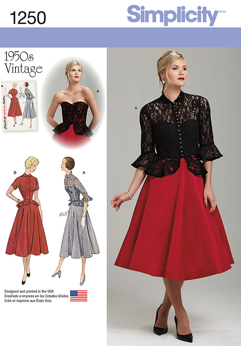 Dress Like the Marvelous Mrs. Maisel Simplicity Pattern 1250R5 14 - 16 - 18 - 2 - Special Occasion $18.95 AT vintagedancer.com