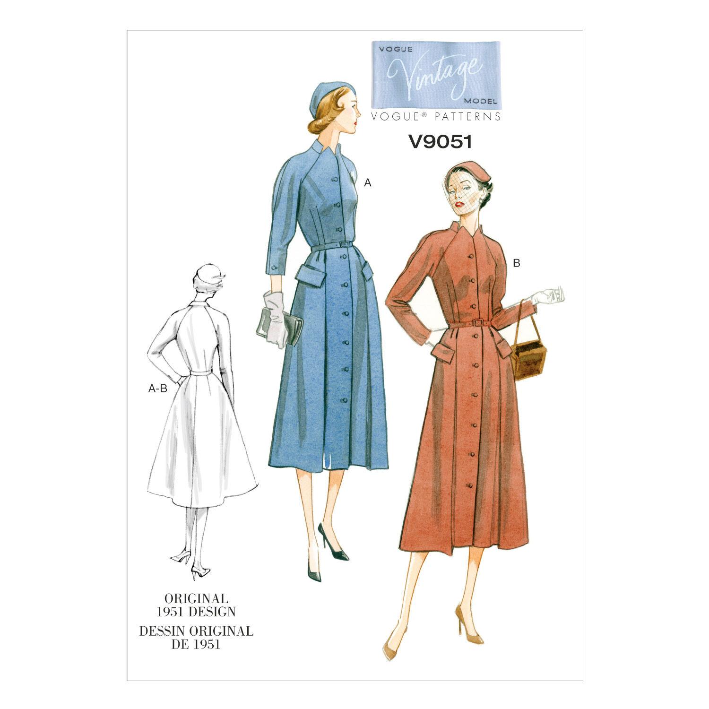 1950s Sewing Patterns | Dresses, Skirts, Tops, Mens Vogue Patterns Misses Dress - V9051 $21.00 AT vintagedancer.com