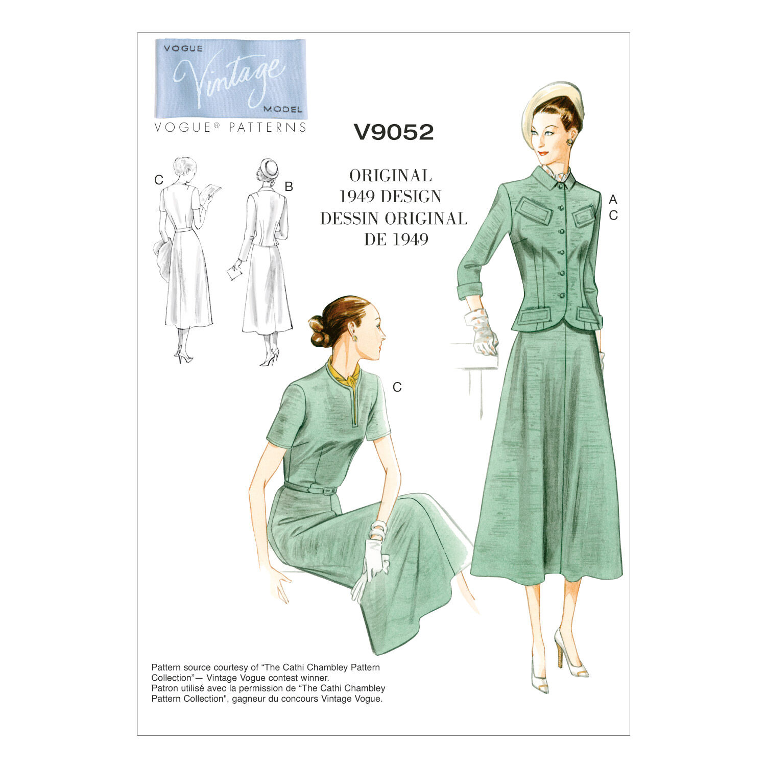 1940s Sewing Patterns – Dresses, Overalls, Lingerie etc Vogue Patterns Misses Dress - V9052 $30.00 AT vintagedancer.com