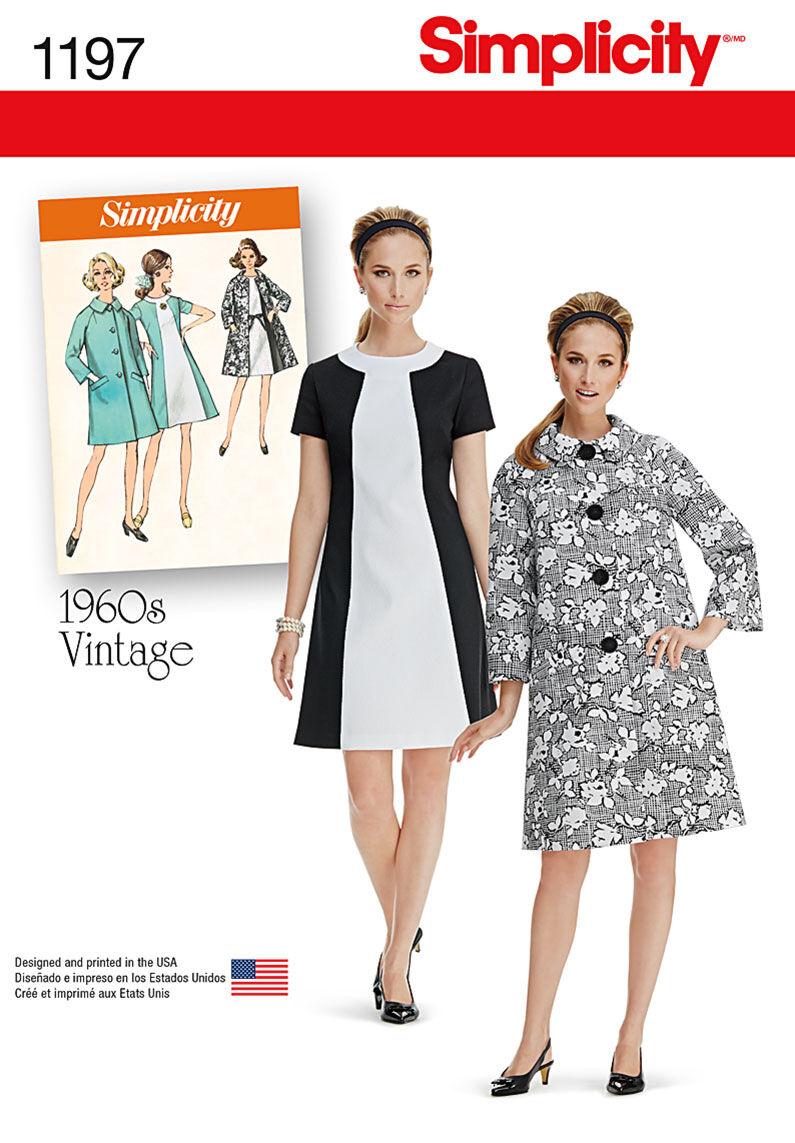 1960s – 70s Sewing Patterns- Dresses, Tops, Pants, Mens Simplicity Pattern 1197U5 16 - 18 - 20 - 2 - Dresses $18.95 AT vintagedancer.com