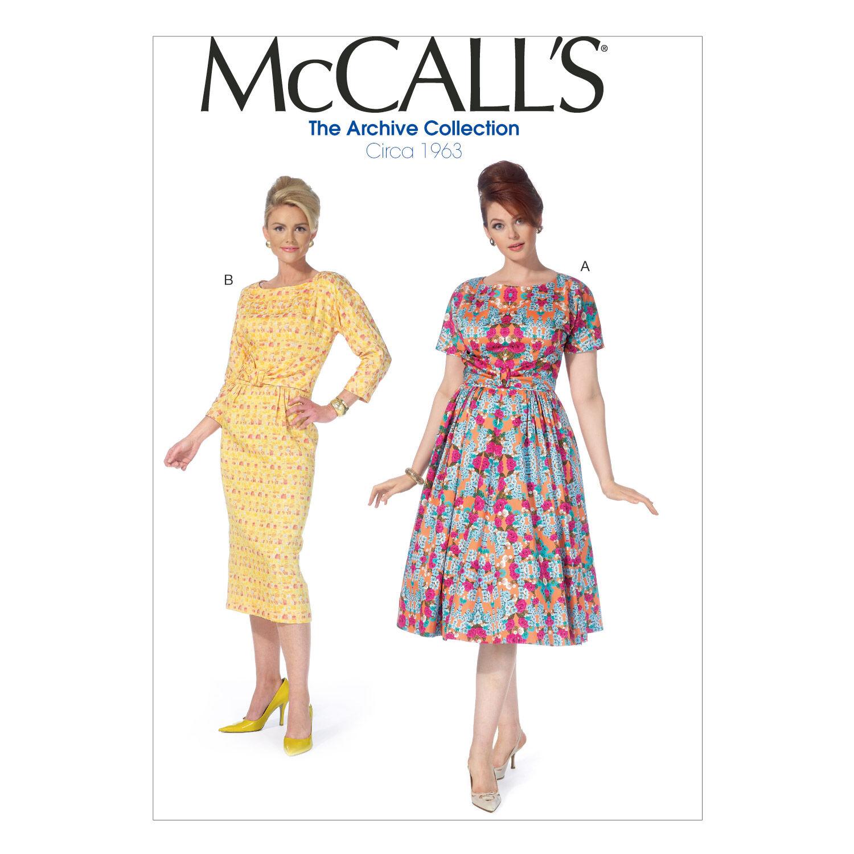 1960s – 70s Sewing Patterns- Dresses, Tops, Pants, Mens McCalls Womens Dress - M7086 $19.95 AT vintagedancer.com