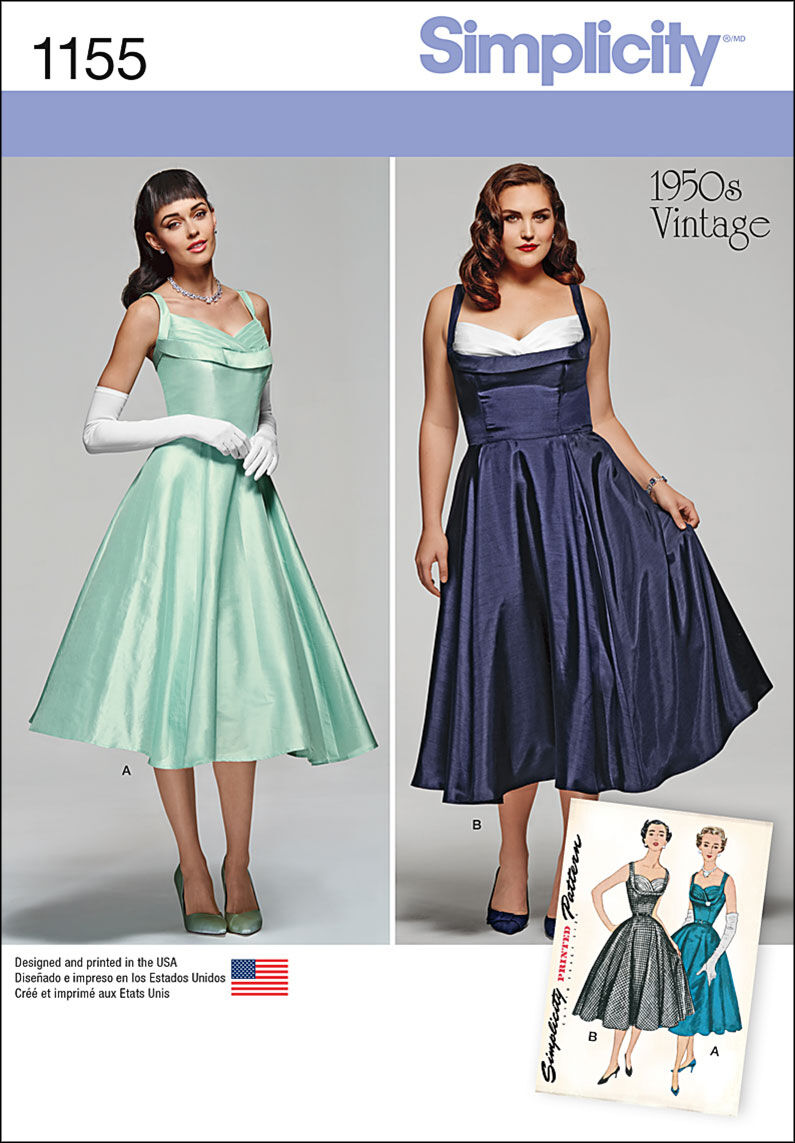 1950s Sewing Patterns | Dresses, Skirts, Tops, Mens Simplicity Pattern 1155AA 10 - 12 - 14 - 1 - Dresses $19.95 AT vintagedancer.com