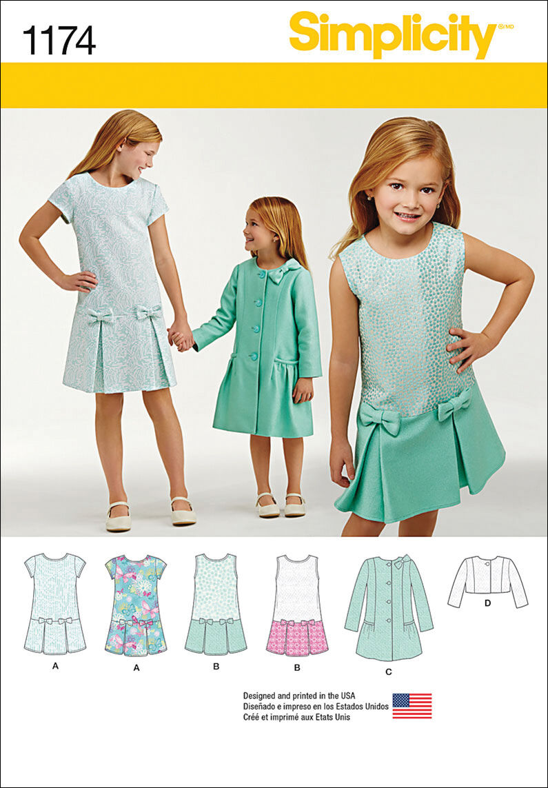 60s 70s Kids Costumes & Clothing Girls & Boys Simplicity Pattern 1174HH 3 - 4 - 5 - 6 - Children $9.57 AT vintagedancer.com