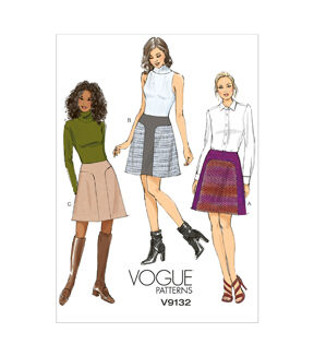 1960s – 70s Sewing Patterns- Dresses, Tops, Pants, Mens Vogue Patterns Misses Skirt - V9132 $17.50 AT vintagedancer.com