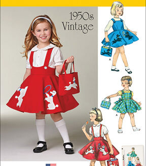 Kids 1950s Clothing & Costumes: Girls, Boys, Toddlers Simplicity Patterns Us1075A - Simplicity ChildS Jumper Skirt And Bag - 3 - 4 - 5 - 6 - 7 - 8 $15.95 AT vintagedancer.com