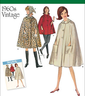 1960s – 70s Sewing Patterns- Dresses, Tops, Pants Simplicity Patterns Us8017H5 - Simplicity Misses Vintage 1960S Cape In Two Lengths - 6 - 8 - 10 - 12 - 14 $19.95 AT vintagedancer.com