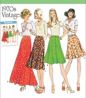 1960s – 70s Sewing Patterns- Dresses, Tops, Pants, Mens Simplicity Patterns Us8019H5 - Simplicity Misses Vintage 1970S Skirts - 6 - 8 - 10 - 12 - 14 $17.95 AT vintagedancer.com