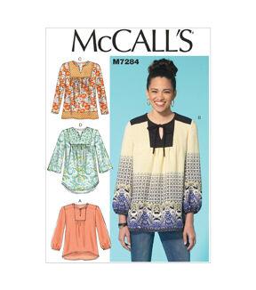 1960s – 70s Sewing Patterns- Dresses, Tops, Pants, Men's McCalls Misses Top - M7284 $13.96 AT vintagedancer.com