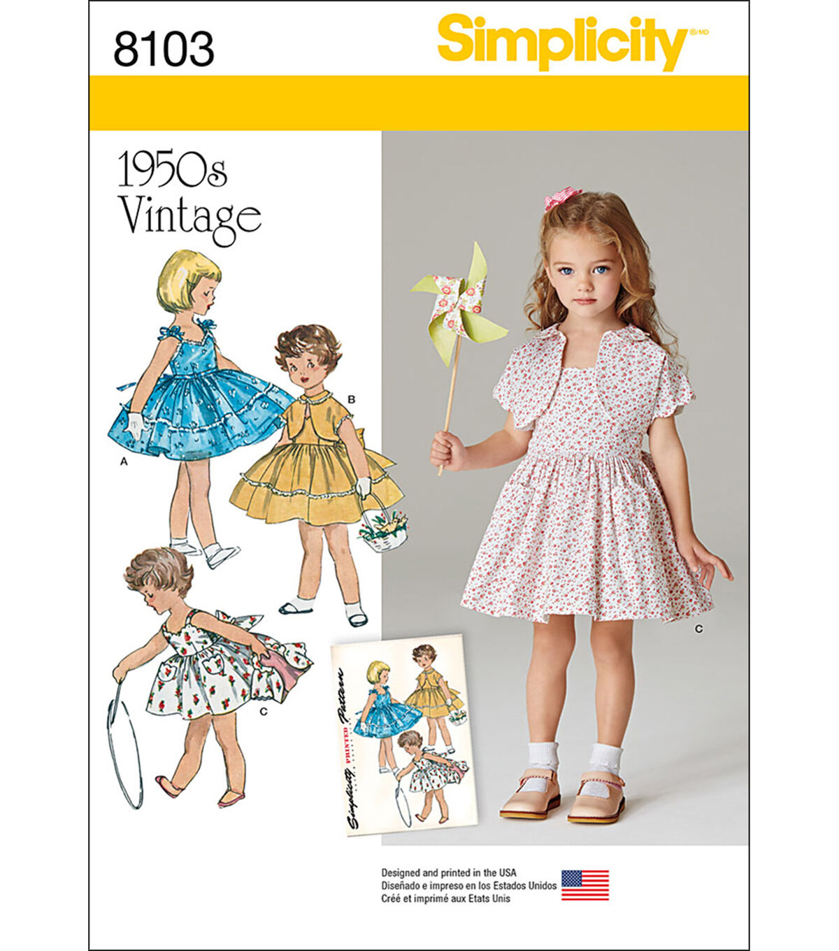 Kids 1950s Clothing & Costumes: Girls, Boys, Toddlers Simplicity Patterns US8103A Children - 3 - 4 - 5 - 6 - 7 - 8 $16.95 AT vintagedancer.com