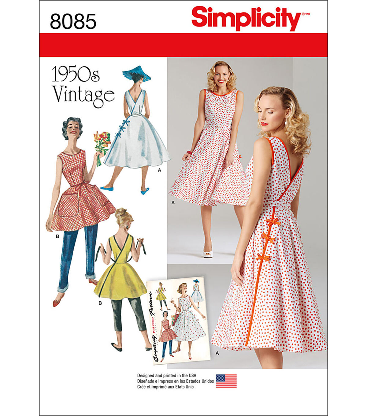 3fcb565ba5 1950s Sewing Patterns | Dresses, Skirts, Tops, Mens Simplicity Patterns  US8085H5 Dresses -