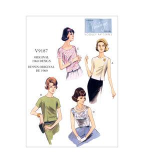 1960s – 70s Sewing Patterns- Dresses, Tops, Pants, Mens Vogue Patterns Misses Top - V9187 $19.25 AT vintagedancer.com
