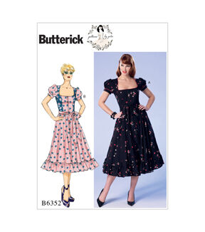 1940s Sewing Patterns – Dresses, Overalls, Lingerie etc Butterick Misses Dress - B6352 $19.95 AT vintagedancer.com