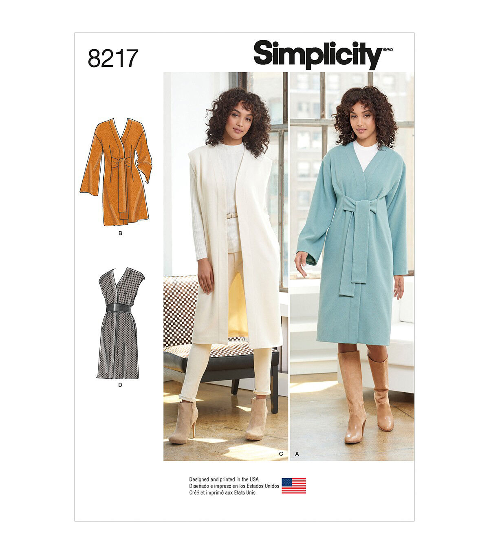 1960s – 70s Sewing Patterns- Dresses, Tops, Pants, Mens Simplicity Pattern 8217 Misses  Miss Petite Coat or Vest - 8-10-12-14-16 $12.57 AT vintagedancer.com
