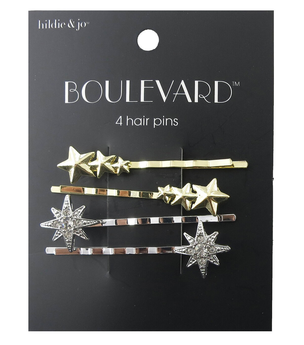 Vintage Hair Accessories: Combs, Headbands, Flowers, Scarf, Wigs hildie  jo Boulevard 4 Pack Gold  Silver Star Hair Pins - Crystal $3.59 AT vintagedancer.com