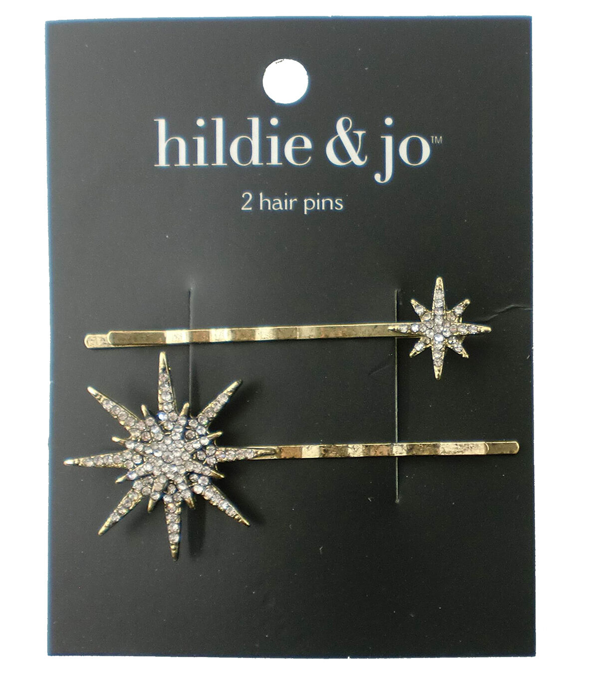 Vintage Hair Accessories: Combs, Headbands, Flowers, Scarf, Wigs hildie  jo 2 Pack Gold Hair Pins - Clear Round Crystals Stars $5.99 AT vintagedancer.com
