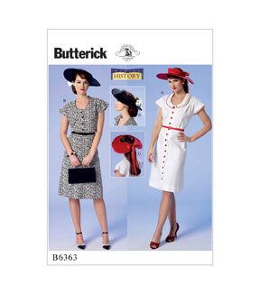 1940s Sewing Patterns – Dresses, Overalls, Lingerie etc Butterick Pattern B6363 Misses Sleeve Dresses  Sun Hats - Size 6 - 14 $19.95 AT vintagedancer.com