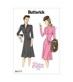 1940s Sewing Patterns – Dresses, Overalls, Lingerie etc Butterick Pattern B6374 Misses Swan - Neck or Collar Dresses - Size 14 - 22 $19.95 AT vintagedancer.com