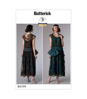 1920s Patterns – Vintage, Reproduction Sewing Patterns Butterick Pattern B6399 Misses Drop - Waist Dress with Bow - Size 14 - 22 $11.97 AT vintagedancer.com