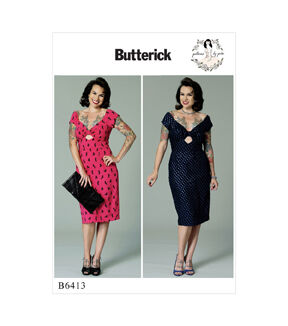 1950s Sewing Patterns | Dresses, Skirts, Tops, Mens Butterick Pattern B6413 Misses Gathered - Front Keyhole Dress - Size 6 - 14 $13.96 AT vintagedancer.com