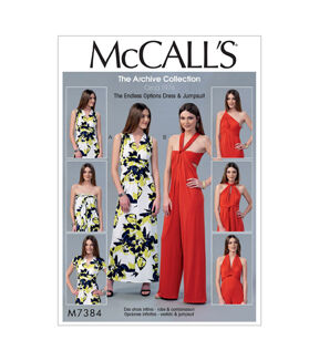 1960s – 70s Sewing Patterns- Dresses, Tops, Pants, Mens McCalls Pattern M7384 Misses Tie Options Dress  Jumpsuit - Size 12 - 18 $19.95 AT vintagedancer.com
