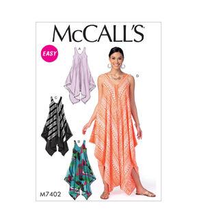 1960s – 70s Sewing Patterns- Dresses, Tops, Pants, Mens McCalls Pattern M7402 Misses Handkerchief - Hem Tent Dresses  Jumpsuit - 4-6-8-10-12-14 $13.96 AT vintagedancer.com