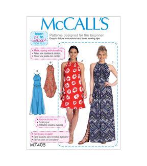 1960s – 70s Sewing Patterns- Dresses, Tops, Pants, Mens McCalls Pattern M7405 Misses Dresses with Ties  Belt - Size 16 - 26 $19.95 AT vintagedancer.com