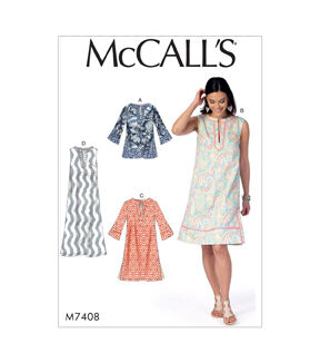 1960s – 70s Sewing Patterns- Dresses, Tops, Pants, Mens McCalls Pattern M7408 Misses Notched Tunic  Dresses - Size 16 - 26 $19.95 AT vintagedancer.com