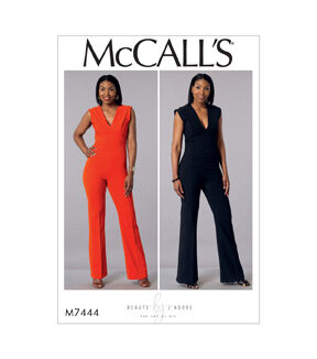 1960s – 70s Sewing Patterns- Dresses, Tops, Pants, Mens McCalls Pattern M7444 Misses Deep - V Jumpsuit - Size 14 - 16 - 18 - 20 - 22 $19.95 AT vintagedancer.com