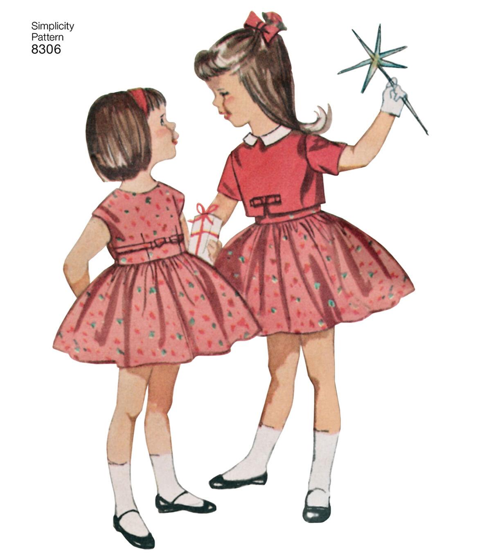 Vintage Style Children's Clothing: Girls, Boys, Baby, Toddler Simplicity Pattern 8306 Childrens Dress  Jacket - Size A 3 - 4 - 5 - 6 - 7 - 8 $11.37 AT vintagedancer.com