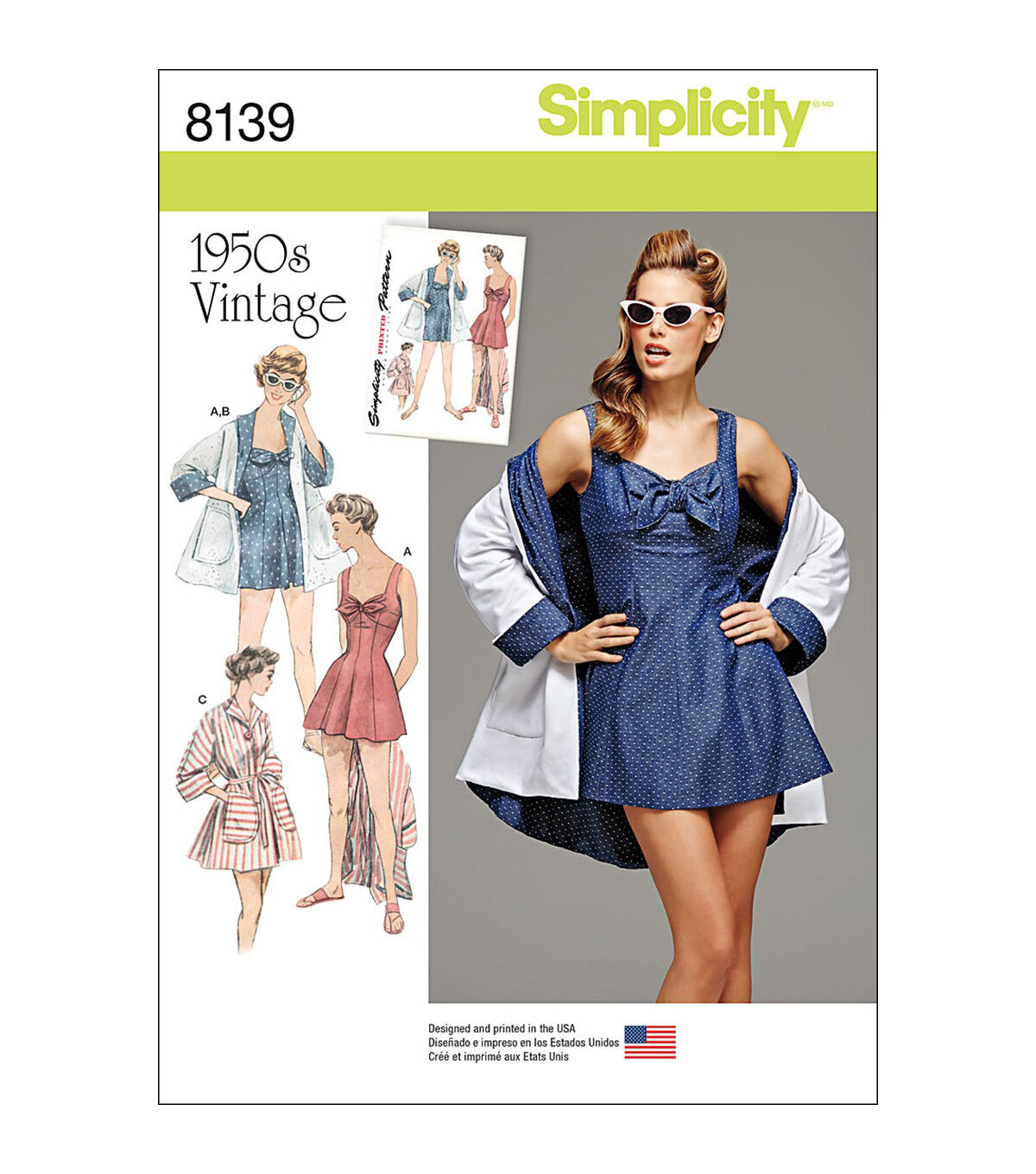 1950s Sewing Patterns | Dresses, Skirts, Tops, Mens Simplicity Pattern 8139 Misses Beachwear - Size R5 14 - 16 - 18 - 20 - 22 $13.96 AT vintagedancer.com