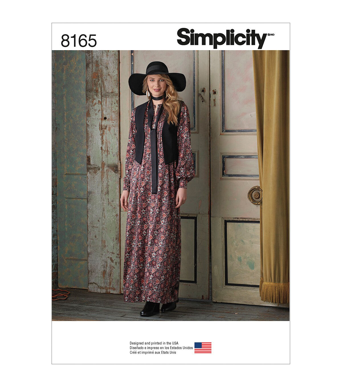 1960s – 70s Sewing Patterns- Dresses, Tops, Pants, Mens Simplicity Pattern 8165 Misses Maxi Dress Vest  Tie - Size P5 12 - 20 $13.96 AT vintagedancer.com