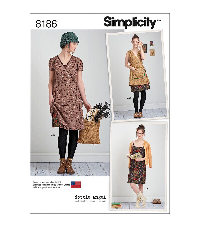 Vintage Aprons, Retro Aprons, Old Fashioned Aprons & Patterns Simplicity Pattern 8186 Misses Frock Wrap  Slip Dress Size D5 4 12 $13.96 AT vintagedancer.com