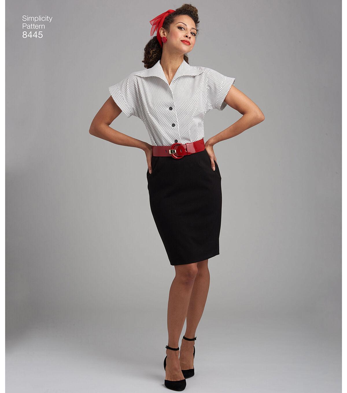1950s Sewing Patterns | Dresses, Skirts, Tops, Mens Simplicity Pattern 8445 Misses Blouses  Cummerbund - Size U5 16 - 24 $14.66 AT vintagedancer.com