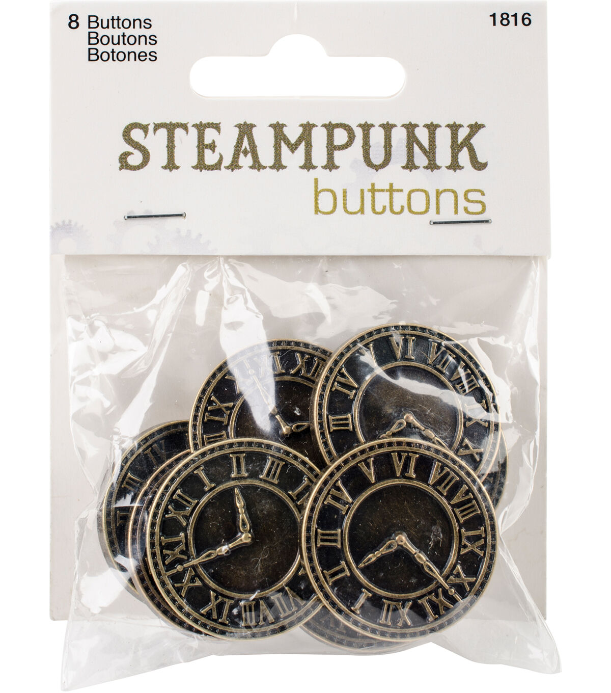 Steampunk Clothing, Fashion, Costumes Steampunk 8 pk Clock Buttons Antique Gold $3.99 AT vintagedancer.com