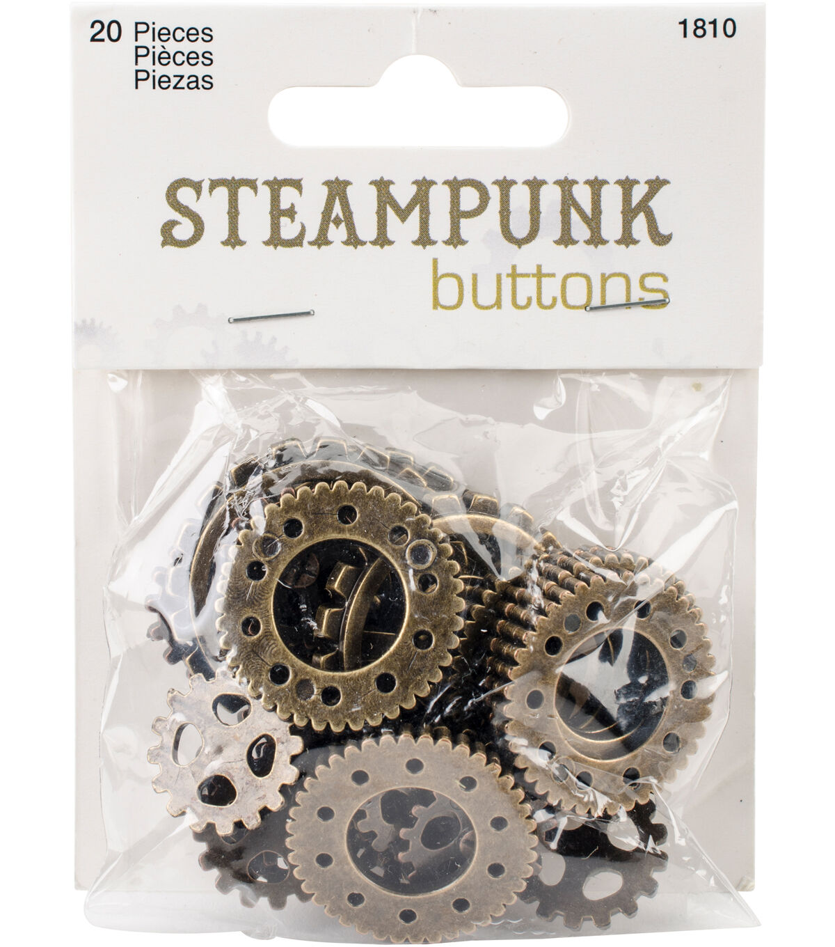 Steampunk Clothing, Fashion, Costumes Steampunk 20 pk Gear Buttons Antique Gold $3.99 AT vintagedancer.com