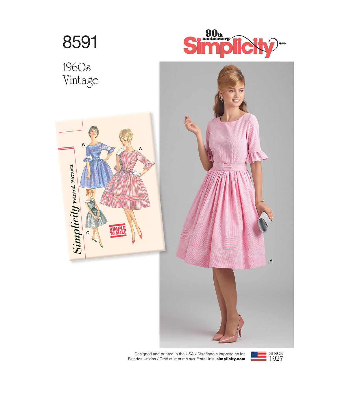 1960s – 70s Sewing Patterns- Dresses, Tops, Pants, Men's Simplicity Pattern 8591 Misses  Petites Vintage Dress - Size P5 12 - 20 $18.19 AT vintagedancer.com