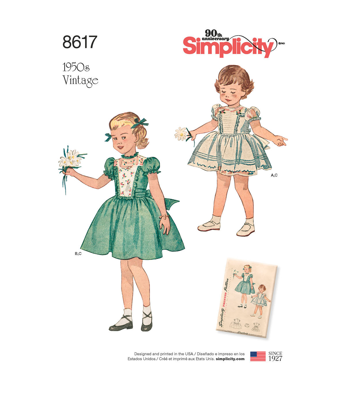 Kids 1950s Clothing & Costumes: Girls, Boys, Toddlers Simplicity Pattern 8617 Toddlers Vintage Dress  Panties - Size A 12 - 4 $20.79 AT vintagedancer.com