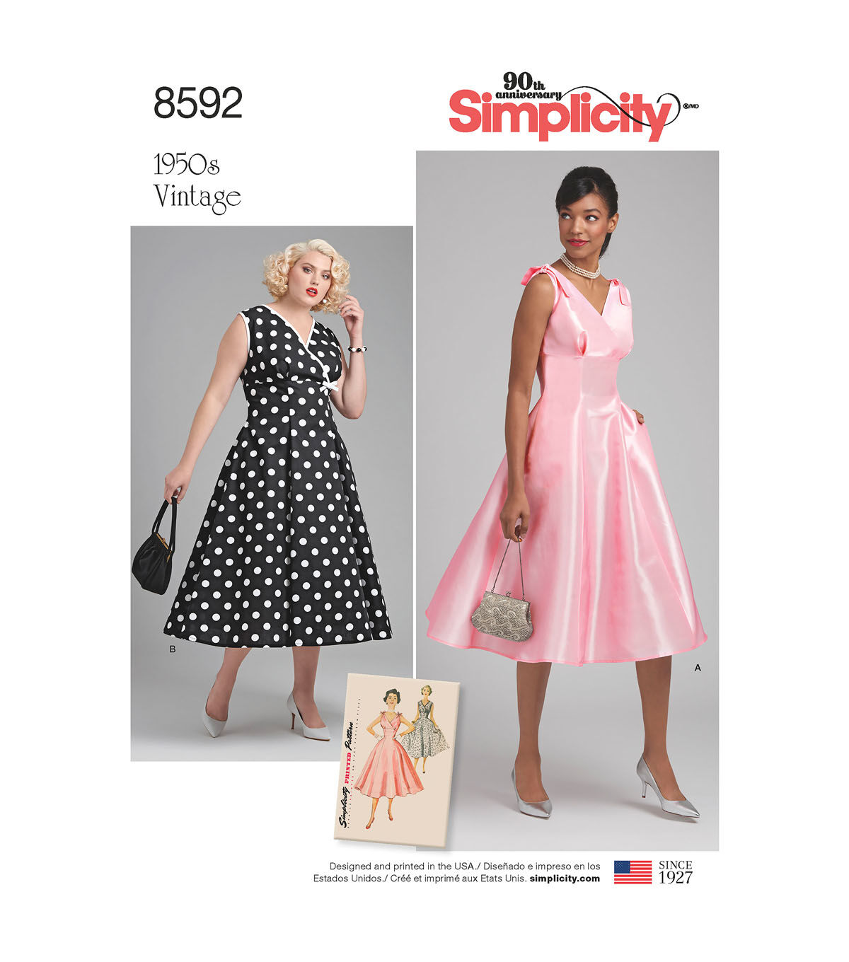 1950s Sewing Patterns | Dresses, Skirts, Tops, Mens 1950s Simplicity Pattern 8592 Misses/Womens Vintage Dress-Size BB (20W-28W) $25.99 AT vintagedancer.com