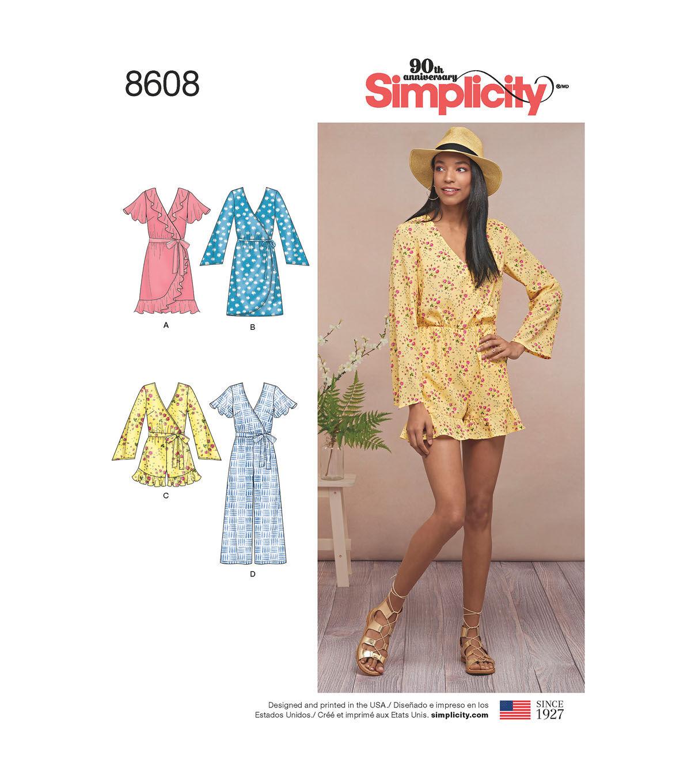 1960s – 70s Sewing Patterns- Dresses, Tops, Pants Simplicity Pattern 8608 Misses Jumpsuit  Dress - Size R5 14 - 22 $21.99 AT vintagedancer.com