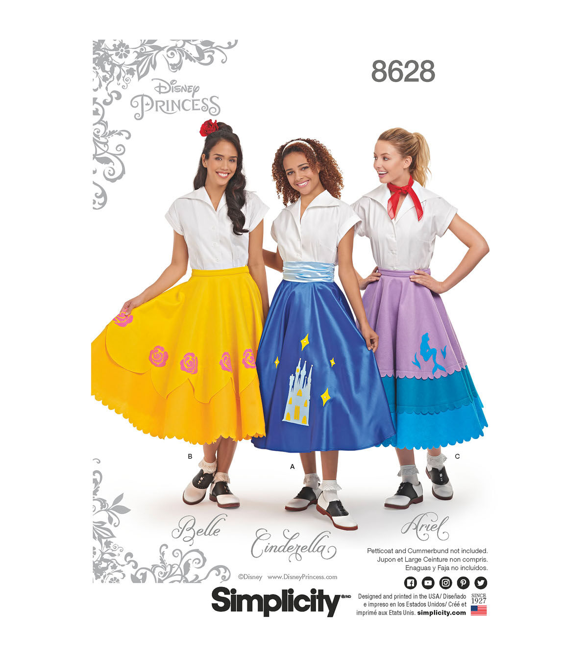 60s 70s Kids Costumes & Clothing Girls & Boys Simplicity Pattern 8628 Misses Disney Character Skirts - Size R5 14 - 22 $19.99 AT vintagedancer.com