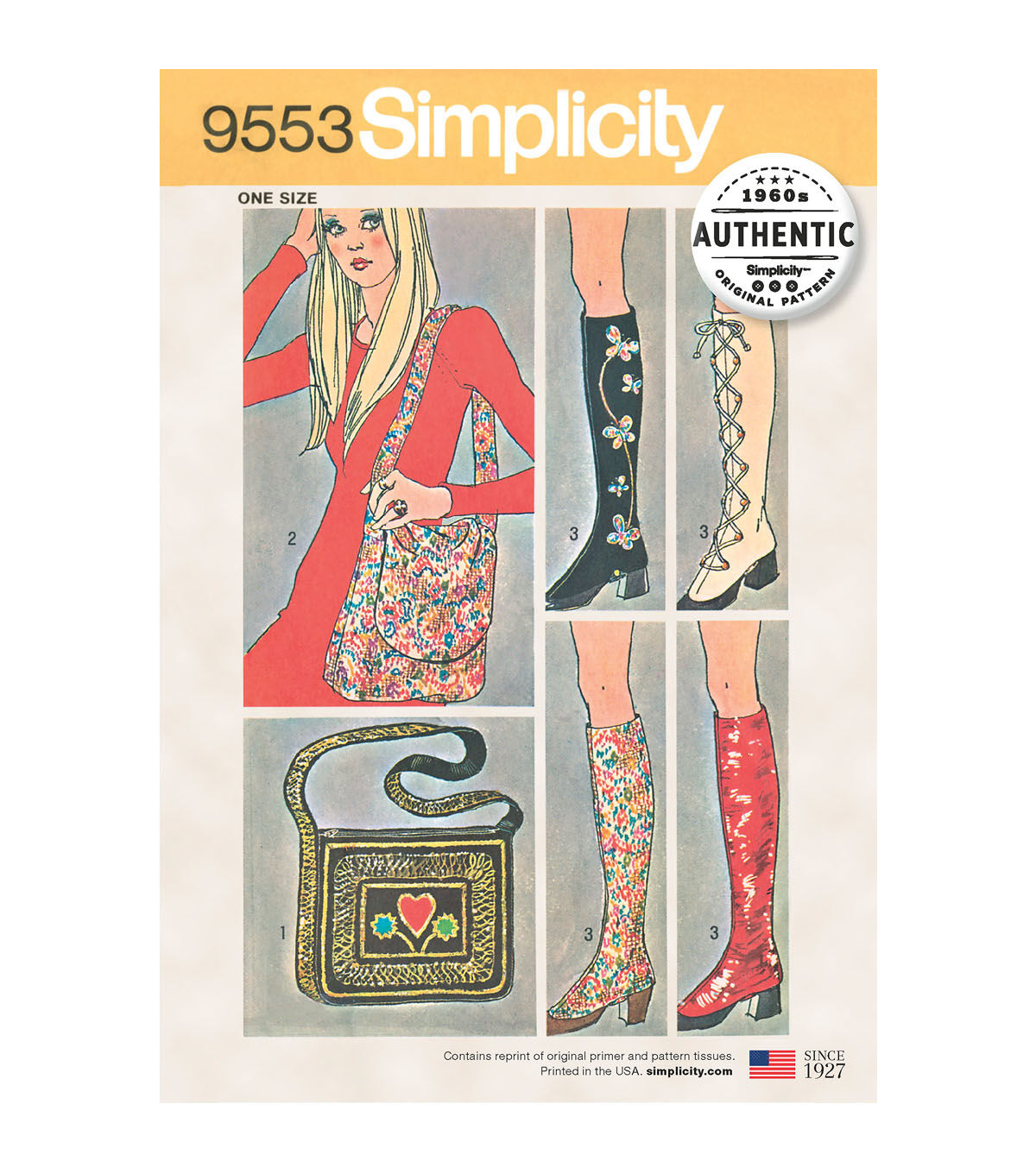 1960s – 70s Sewing Patterns- Dresses, Tops, Pants, Mens Simplicity Pattern 9553 Spats  Two Bags $18.19 AT vintagedancer.com