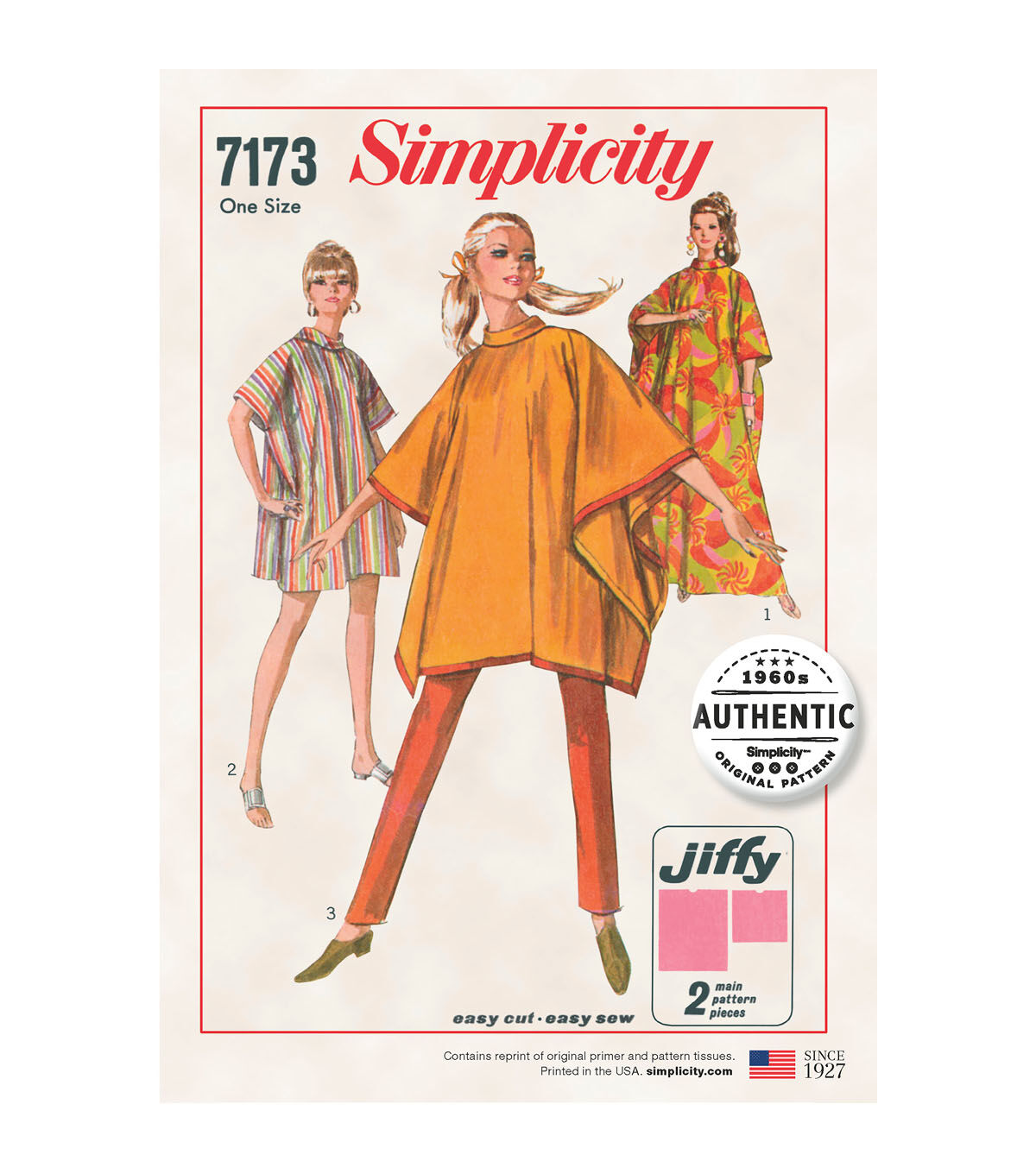 1960s – 70s Sewing Patterns- Dresses, Tops, Pants, Mens Simplicity Pattern 7173 Misses Jiffy Poncho $25.99 AT vintagedancer.com