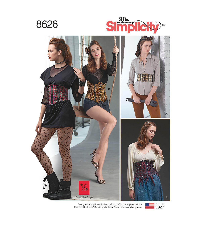 Steampunk Sewing Patterns- Dresses, Coats, Plus Sizes, Men's Patterns Simplicity Pattern 8626 Misses Corset Belts - Size R5 14 - 16 - 18 - 20 - 22 $23.99 AT vintagedancer.com