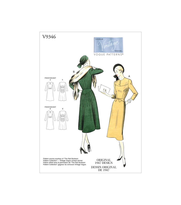 1950s Sewing Patterns | Dresses, Skirts, Tops, Mens Vogue Pattern V9346 Misses Dress - Size 14 - 16 - 18 - 20 - 22 $24.50 AT vintagedancer.com