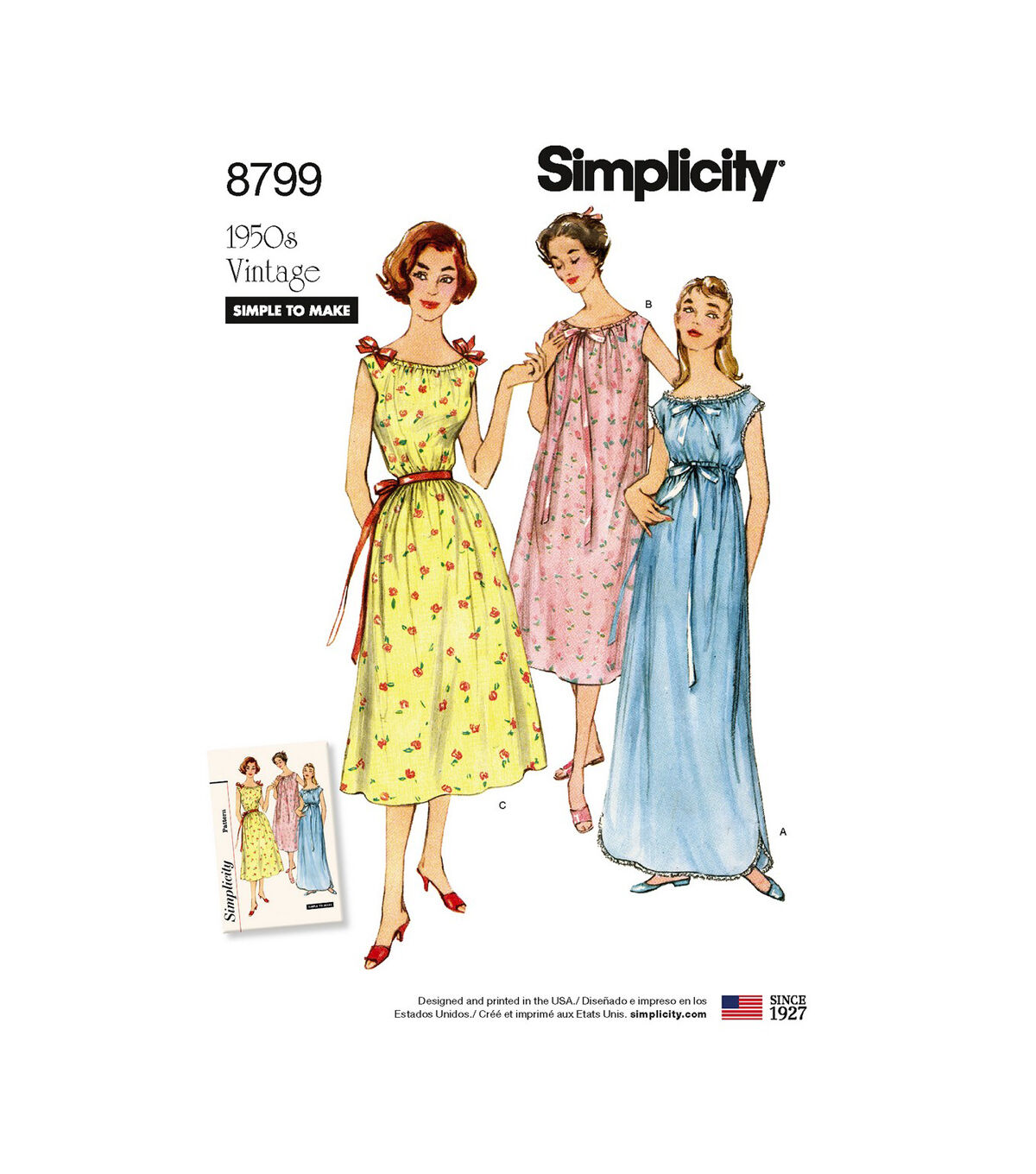 1950s Sewing Patterns | Dresses, Skirts, Tops, Mens Simplicity Pattern 8799 Misses Vintage Nightgowns - Size A XS - S - M - L - XL $22.95 AT vintagedancer.com